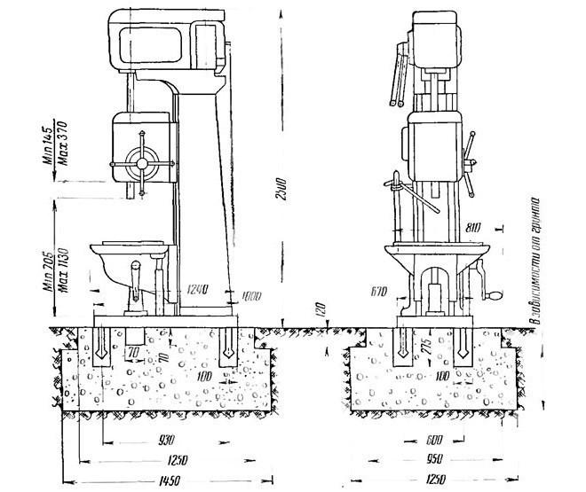 Монтажные размеры станка 2А135