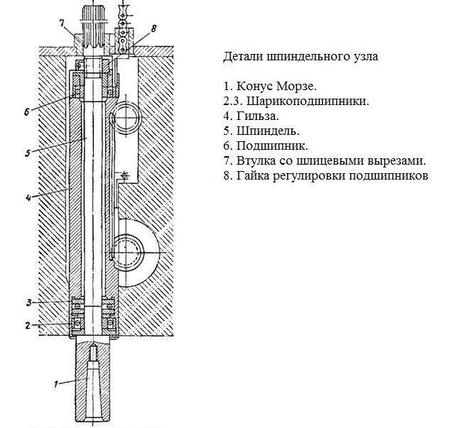 Шпиндельный узел вертикально-сверлильного станка 2А135